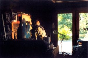 Charles Marchant Stevenson at his easel on his last day in his studio (2004). Photo by Antonia Lamb.