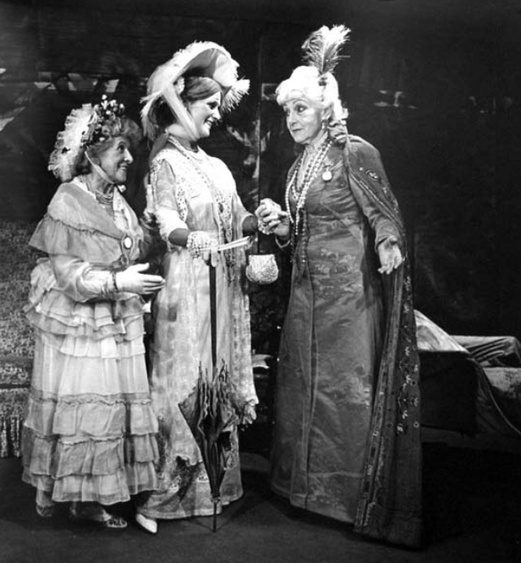 Left to right: Betty Thompson, Sandra Hawthorne, Mary Linley Taylor in the Mendocino production of Jean Giraudoux's Madwoman of Chaillot. Photo by Bill Foote.