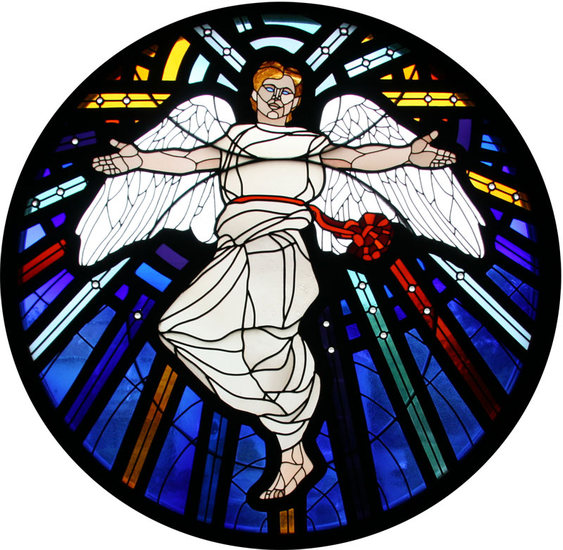 Saint Michael Rondel. Stained glass window. Charles Marchant Stevenson. St. Michael and All Angels Episcopal Church, 201 E. Fir Street, Fort Bragg California.
