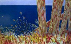 Sunrise, Summer (Mendocino Fences), serigraph by Dorr Bothwell (1962).