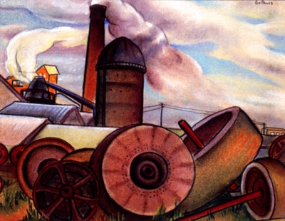 The Mill at Port Gamble, Washington by Dorr Bothwell (1927). Oil pastels. Private collection.
