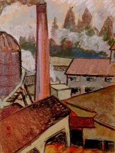 "The Mill, Port Gamble Washington by Dorr Bothwell (1926). Oil pastel (14.5"" x 11""). Private collection."