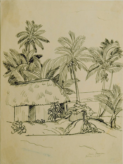 Samoa by Dorr Bothwell (1928). Ink on paper. Private collection.