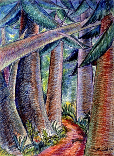 b605f3d24a2ce A Path in the Woods by Dorr Bothwell (Samoa 1928). Oil pastels. Private  collection.