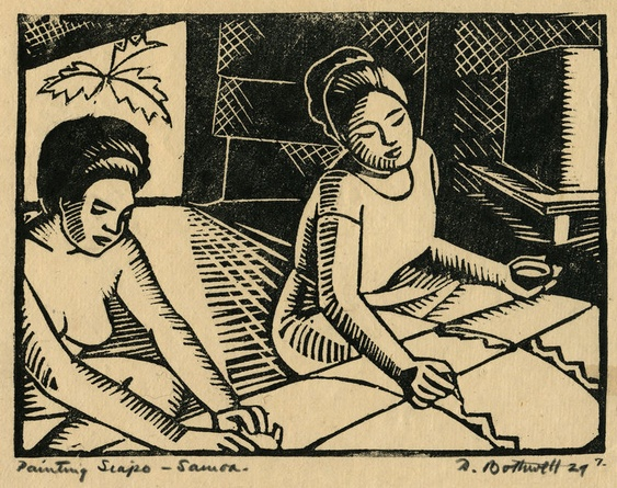 Painting Siapo - Samoa by Dorr Bothwell (1929). Woodblock print (proof 7). Private collection.