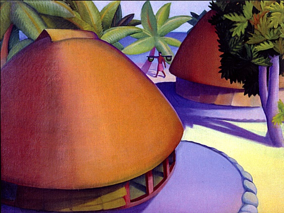 Samoan Houses by Dorr Bothwell (1929). Oil on canvas. Private collection.