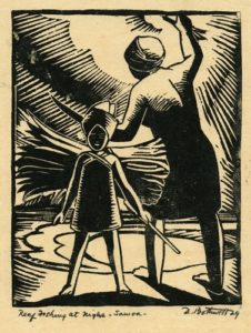 Reef Fishing at Night, Samoa by Dorr Bothwell (1929). Woodblock print. Private collection.