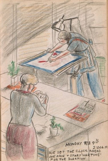 Monday Feb. 9th. 2:00 am. We set our clock ahead one hour + start 'wartime' for the duration. Dorr Bothwell's illustrated diary (2/9/1942). Archives of American Art.