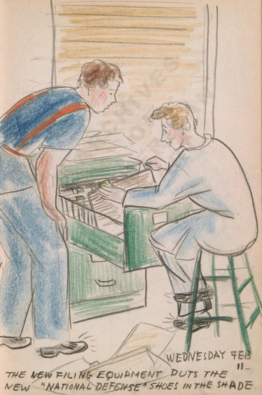 "Wednesday Feb 11: The new filing equipment puts the new ""National Defense"" shoes in the shadeDorr Bothwell's illustrated diary (2/11/1942). Archives of American Art."