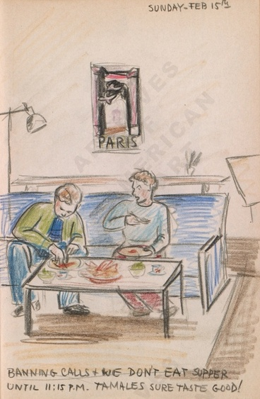 Sunday - Feb 15th: Banning calls + we don't eat supper til 11:15 p.p. Tamales sure taste good! Dorr Bothwell's illustrated diary (2/15/1942). Archives of American Art.