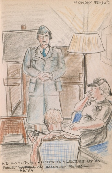 Monday Feb. 16th: We go to Ruth's and we listen to a lecture by an earnest AWVA on incendiary bombs - Dorr Bothwell's illustrated diary (2/16/1942). Archives of American Art.