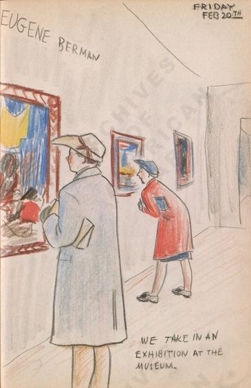 Friday Feb 20th: We take in an exhibition at the museum. Dorr Bothwell's illustrated diary (2/20/1942). Archives of American Art.