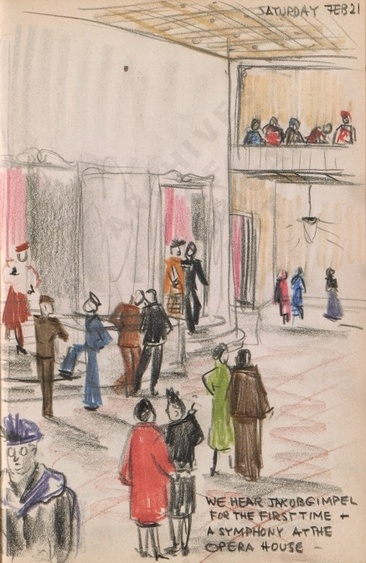 Saturday Feb 21: We hear Jakob Gimpel for the first time - a symphony at the Opera House - Dorr Bothwell's illustrated diary (2/21/1942). Archives of American Art.