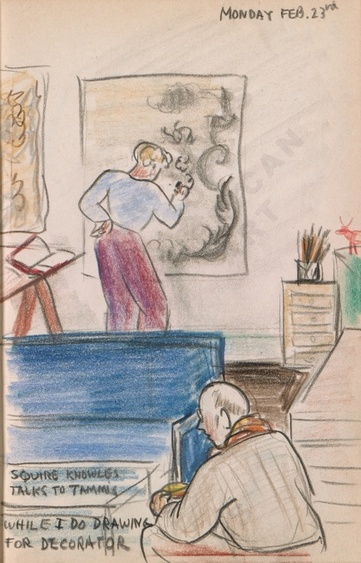 Monday Feb. 23rd: Squire Knowles talks to Tammis while I do drawing for decorator. Dorr Bothwell's illustrated diary (2/23/1942). Archives of American Art.