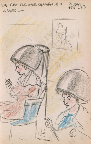 Friday Feb 27th: We get our hair shampooed + waved - Dorr Bothwell's illustrated diary (2/27/1942). Archives of American Art.