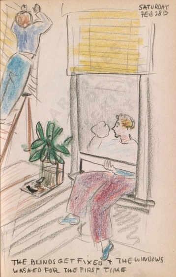 Saturday Feb 28th: The blinds get fixed + the windows washed for the first time. Dorr Bothwell's illustrated diary (2/28/1942). Archives of American Art.