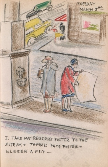 Tuesday March 3rd: I take my Red Cross poster to the Museum + Tammis pays Foster + Kleiser a visit. Dorr Bothwell's illustrated diary (3/03/1942). Archives of American Art.