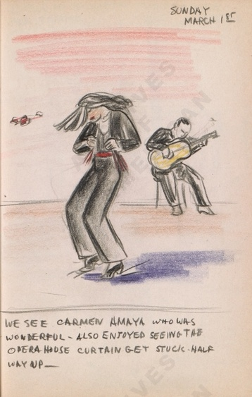 Sunday March 1st: We see Carmen Amaya who was wonderful - also enjoyed seeing the Opera House curtain get stuck half way up - Dorr Bothwell's illustrated diary (3/01/1942). Archives of American Art.