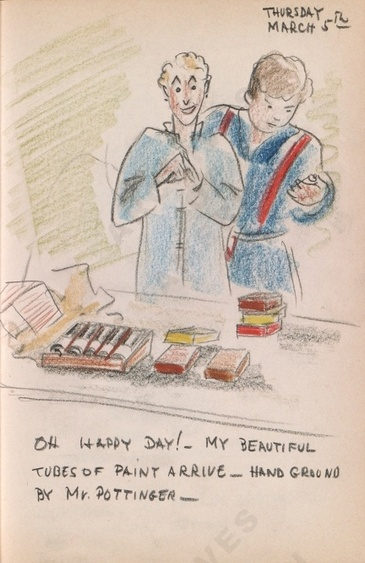 Thursday March 5th: Oh happy day! - My beautiful tubes of paint arrive - hand ground by Mr. Pottinger - Bothwell's illustrated diary (3/05/1942). Archives of American Art.