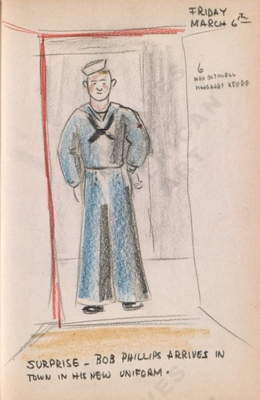 Friday March 6th: SURPRISE - Bob Phillips arrives in town in his new uniform. Bothwell's illustrated diary (3/06/1942). Archives of American Art.