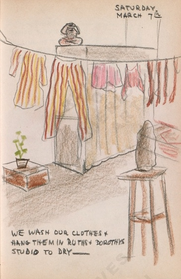 Saturday March 7th: We wash our clothes + hang them in Ruth's and Dorothy's Studio to dry - Dorr Bothwell's illustrated diary (3/07/1942). Archives of American Art.