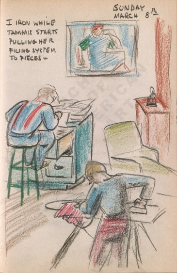 Sunday March 8th: I iron while Tammis starts pulling her filing system to pieces. Dorr Bothwell's illustrated diary (3/08/1942). Archives of American Art.