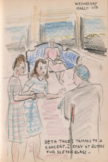 Wednesday March 11: Beth takes Tammis to a concert. I stay at Ruths for a sketch class - Dorr Bothwell's illustrated diary (3/11/1942). Archives of American Art.