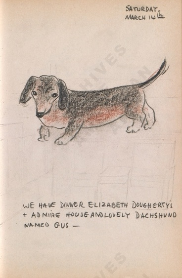 Saturday, March 14th: We have dinner Elizabeth Dougherty's + admire house and lovely dachshund named Gus - Bothwell's illustrated diary (3/14/1942). Archives of American Art.