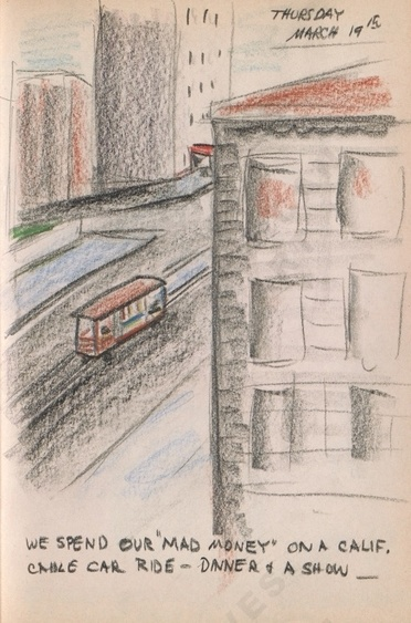 "Thursday March 19th: We spend our ""mad money"" on a Calif. cable car ride - dinner & a show - Dorr Bothwell's illustrated diary (3/19/1942). Archives of American Art."