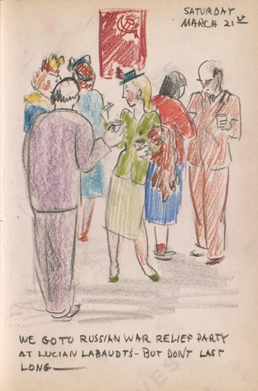 Saturday March 21st: We go to a Russian war relief party at Lucian Labaut's - but don't last long - Dorr Bothwell's illustrated diary (3/21/1942). Archives of American Art.