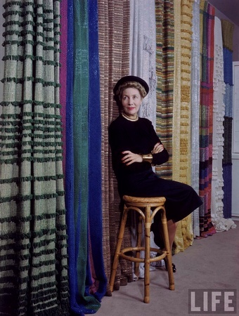Dorothy Liebes with some of her textiles. Photo: Charles E. Steinheimer, LIFE Magazine (1947).