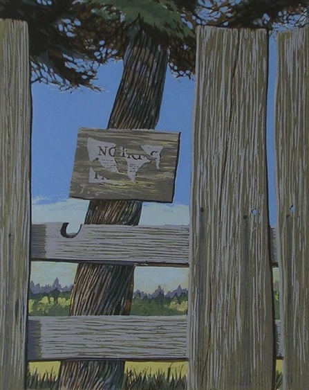 Thoroughfare (Mendocino Fences) by Dorr Bothwell (1963). Serigraph. Private collection.