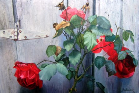 """Roses (Mendocino Fences) by Dorr Bothwell (1964). Oil on canvas (36"""" x 48). Private collection."""