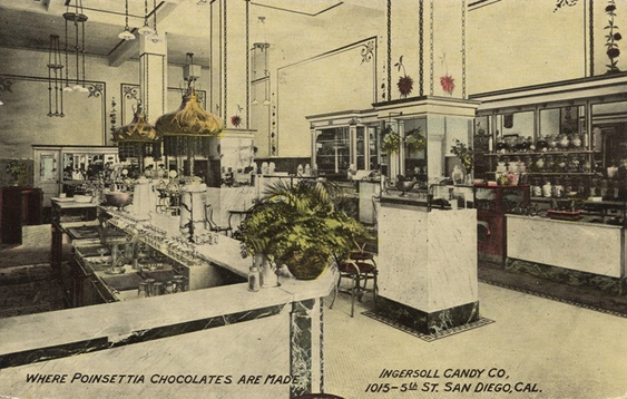 """Ingersoll Candy Company and Restaurant (""""Where Poinsettia Chocolates are Made""""), 1015 5th Street, San Diego, California (circa 1928), where Dorr Bothwell worked as a waitress after her father's death."""
