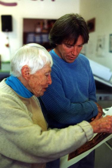 Dorr Bothwell with Howard Clark, Copy Quick, Fort Bragg, California (1994). Photo by CG Blick.