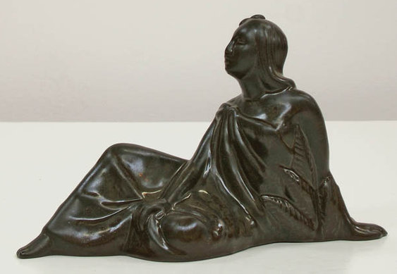 Dorr Bothwell's Reclining Samoan Woman (GMB C-808), from Gladding, McBean's Catalina Art Ware, with Black glaze.