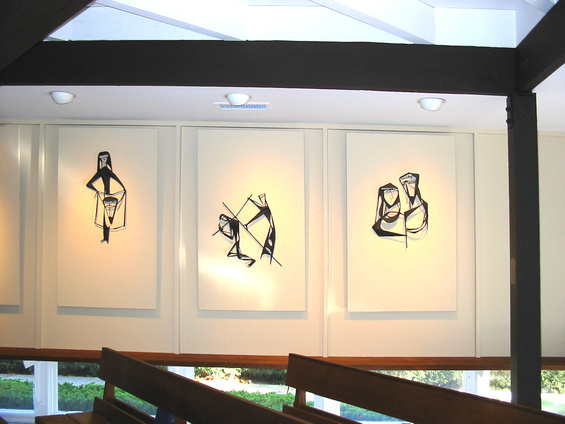Fran Moyer's welded steel Stations of the Cross, mounted in the Sanctuary of Saint Anselm's Episcopal Church in Lafayette, California.