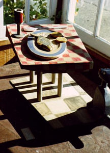 Temptation, polychrome wood sculpture by Fran Moyer, in the bay window of the newly opened Zacha's Bay Window Gallery (1970).