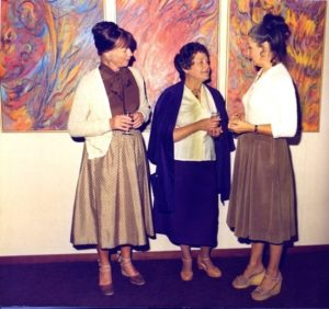 Zacha's Bay Window Gallery opening (1981): Jennie Zacha, Hilda Pertha, Marisa Lauren. Hilda Pertha triptych, oil on canvas.