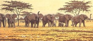 One Day in East Africa 01 (1990). Toshi Yoshida. Woodblock print, handcut by the artist, with zinc effect (10.5 x 23.6), edition of 1000.
