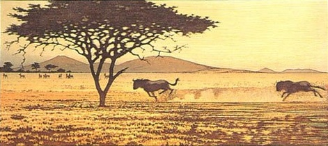 One Day in East Africa 02 (1991). Toshi Yoshida. Woodblock print, handcut by the artist, with zinc effect (10.5 x 23.6), edition of 1000. SKU: TY02