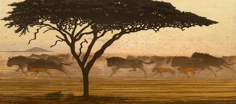 One Day in East Africa 03 (1991). Toshi Yoshida. Woodblock print, handcut by the artist, with zinc effect (10.5 x 23.6), edition of 1000. SKU: TY03