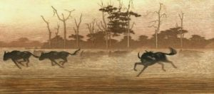 One Day in East Africa 04 (1981). Toshi Yoshida. Woodblock print, handcut by the artist, with zinc effect (10.5 x 23.6), edition of 1000. SKU: TY 04