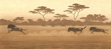 One Day in East Africa 05 (1994). Toshi Yoshida. Woodblock print, handcut by the artist, with zinc effect (10.5 x 23.6), edition of 1000. SKU: TY05