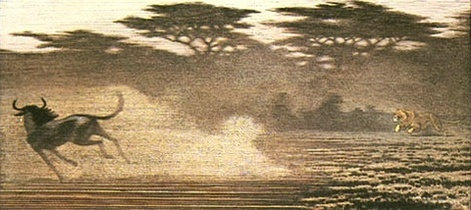 One Day in East Africa 08 (1983). Toshi Yoshida. Woodblock print, handcut by the artist, with zinc effect (10.5 x 23.6), edition of 1000. SKU: TY08