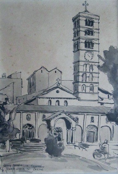 Santa Maria in Cosmedin, Roma (11-3-51). Ink drawing by Bill Zacha. WZ195120