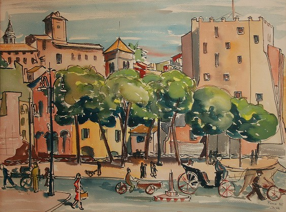 Rome, Street Scene (1952). Watercolor by Bill Zacha. WZ195225