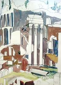Rome, Temple of Castor and Pollux in the Forum (1952). Watercolor by Bill Zacha. WZ195230