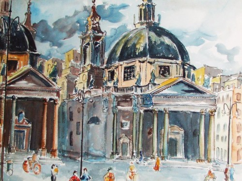 Piazza del Popolo, Roma, 1954 watercolor by Bill Zacha, a gift to his 1949 painting companion, Patience Molesworth (Pay).