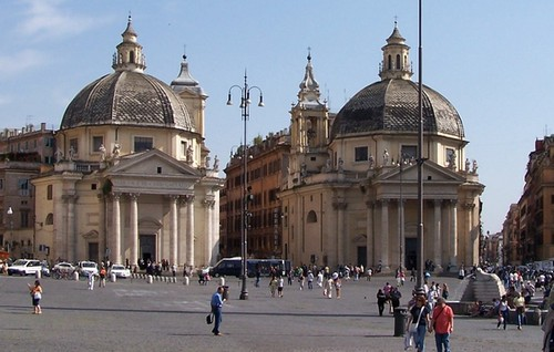 The twin churches of Santa Maria in Montesanto, and Santa Maria dei Miracoli in Piazza del Popolo, Rome. Photo by Berthold Werner (detail).